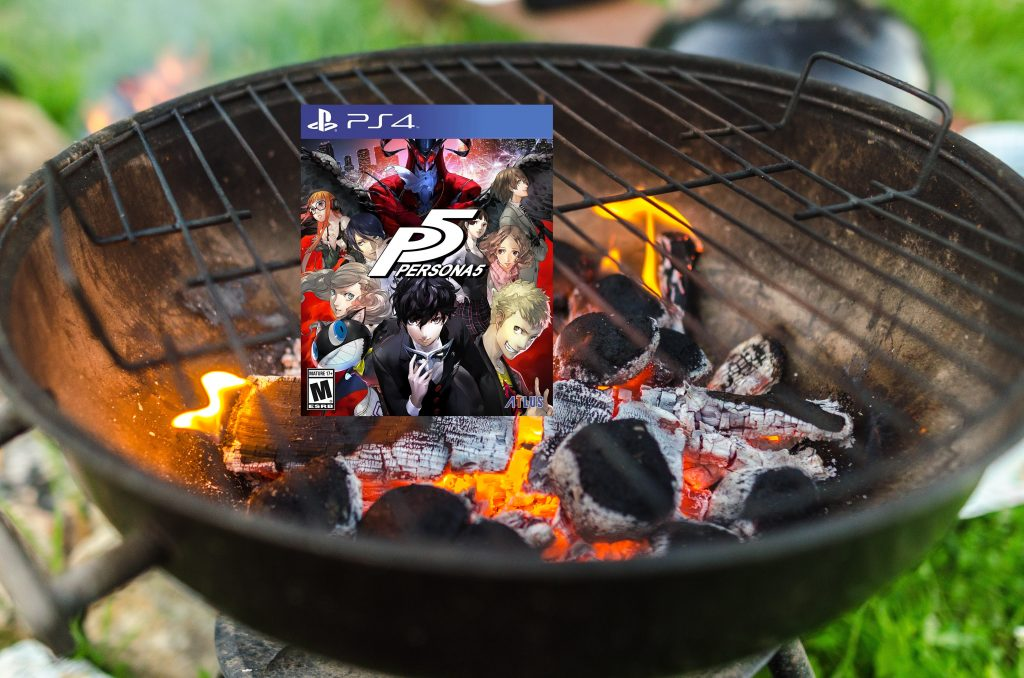persona 5 grilling on a barbecue